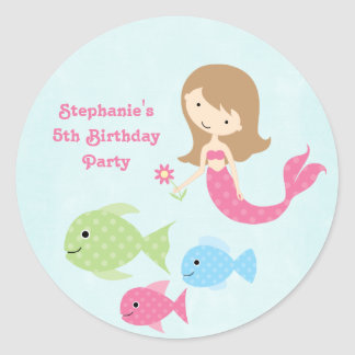 Cute girl's mermaids birthday party stickers