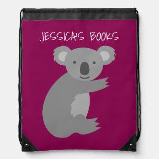Cute girls pink koala bear drawstring backpack bag
