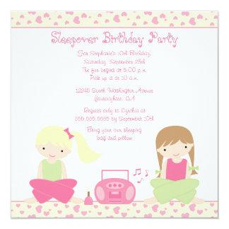 "Cute girl's sleepover birthday party invitation 5.25"" square invitation card"