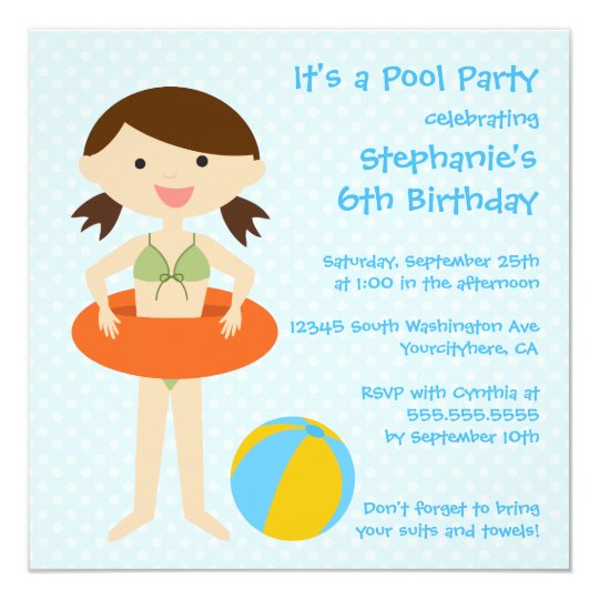 Cute girl's summer pool party birthday invitation