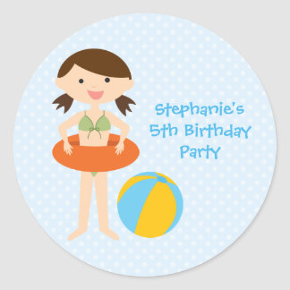 Cute girl's summer pool party birthday stickers