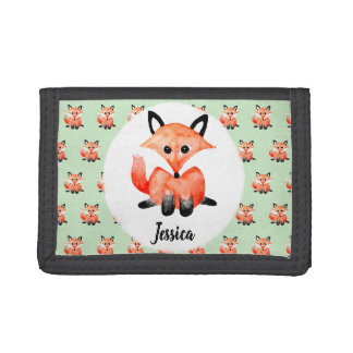 Cute Girl's Watecolor Fox Children's First Wallet
