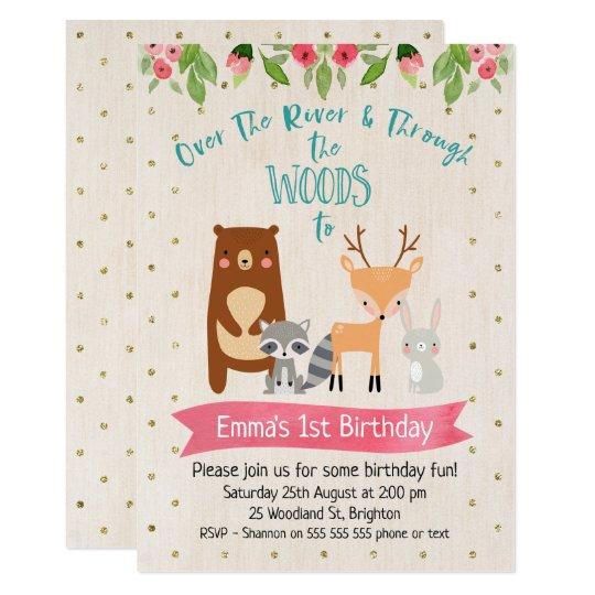 Cute Girls Woodland Animals Birthday Invitation