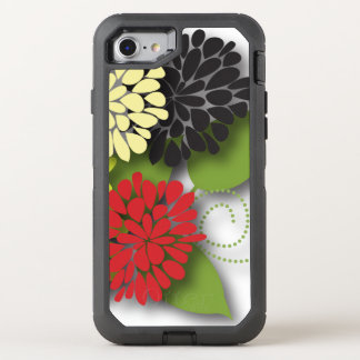 Cute Girly Abstract Flowers OtterBox Defender iPhone 7 Case