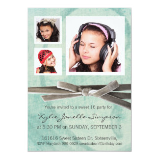 Cute Girly Aqua 3 Photo Girl Sweet 16 11 Cm X 16 Cm Invitation Card