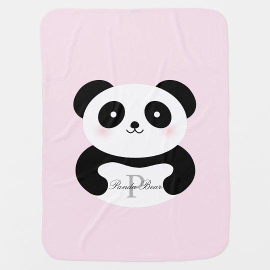 Cute Girly Baby Girl Panda Bear Monogram Baby Blanket