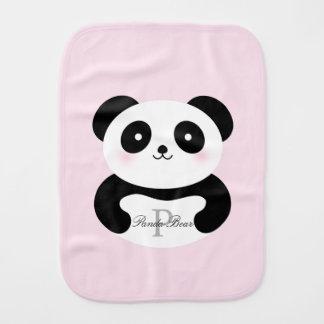 Cute Girly Baby Girl Panda Bear Monogram Burp Cloth