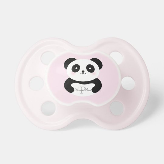 Cute Girly Baby Girl Panda Bear Monogram Dummy