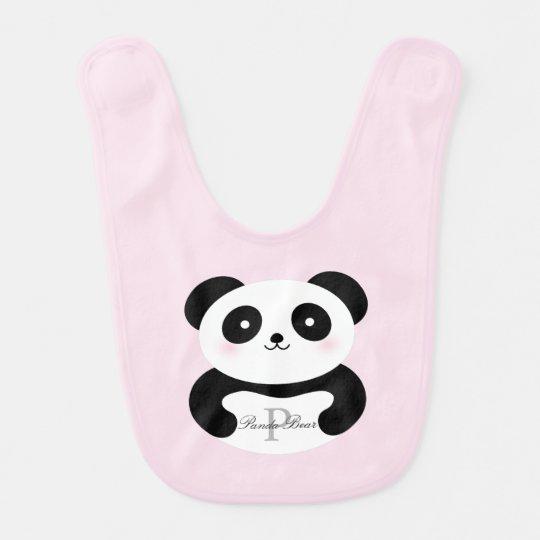 Cute Girly Baby Girl Panda Bear Whimsical Monogram Bib