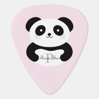 Cute Girly Baby Panda Bear Add Your Name Monogram Guitar Pick