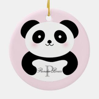 Cute Girly Baby Panda Bear Monogram Christmas Ornament