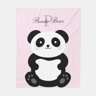 Cute Girly Baby Panda Bear Monogram Fleece Blanket