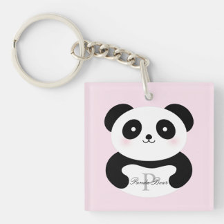 Cute Girly Baby Panda Bear Monogram Key Ring