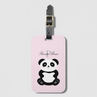 Cute Girly Baby Panda Bear Monogram Luggage Tag