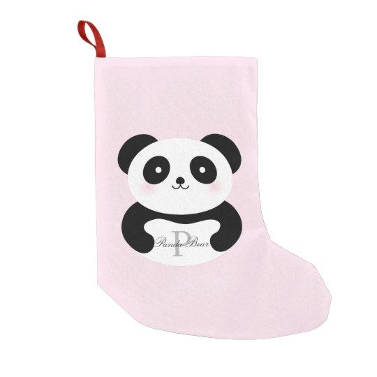 Cute Girly Baby Panda Bear Monogram Small Christmas
