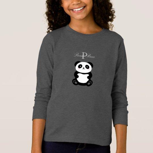 Cute Girly Baby Panda Bear Monogram T-Shirt
