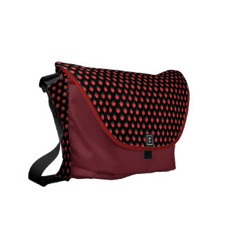 Cute girly black pink strawberry patterns monogram courier bags
