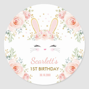 Cute Girly Bunny Blush Pink Floral Rabbit Party Classic Round Sticker