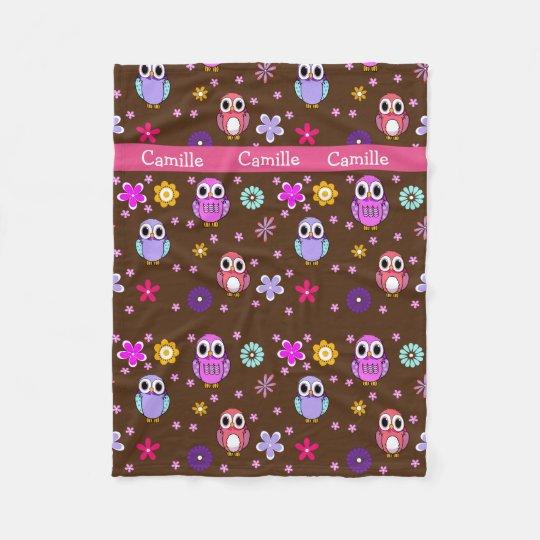 Cute Girly Cartoon Owls Fleece Blanket