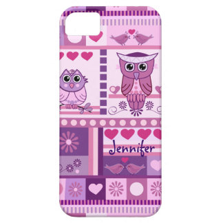 Cute Girly case with Owls, Birds, Pattern & name iPhone 5 Case