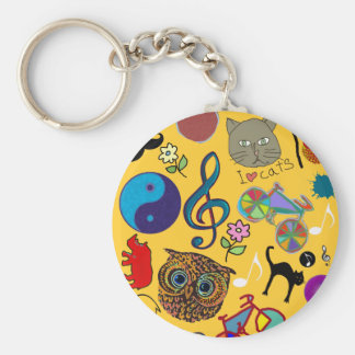 cute girly color pattern basic round button key ring