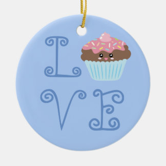 Cute Girly Colorful Kawaii Sweet Cupcake Christmas Round Ceramic Decoration