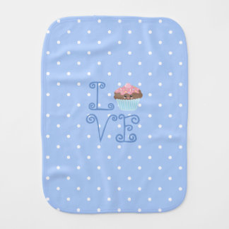 Cute Girly Colorful Kawaii Sweet Love Cupcake Burp Cloth