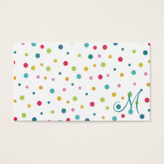 Cute girly colourful different sizes  polka dots business card