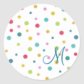 Cute girly colourful different sizes  polka dots round sticker