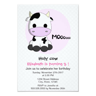 Cute girly cow polkadots girl kids birthday party card