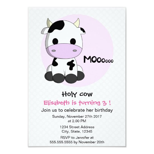 Cute girly cow polkadots girl kids birthday party