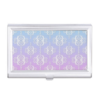 Cute Girly Damask Purple Blue Business Card Holder