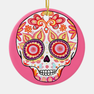 Cute Girly Day of the Dead Skull Ornament