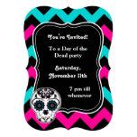 Cute girly day of the dead sugar skull chevron 13 cm x 18 cm invitation card