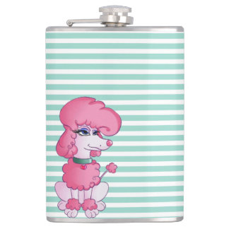 Cute Girly  Dog On Mint $ White Stripes Flasks