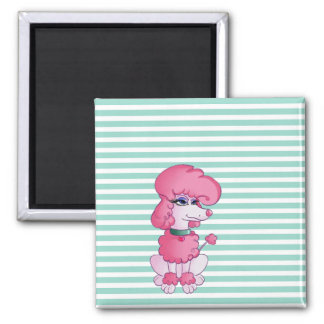 Cute Girly  Dog On Mint & White Stripes Magnet