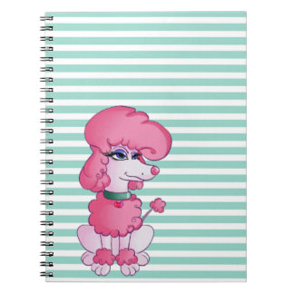 Cute Girly  Dog On Mint $ White Stripes Notebooks
