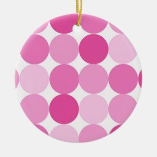 Cute Girly Elegant Pink Polka Dots Christmas Ornament