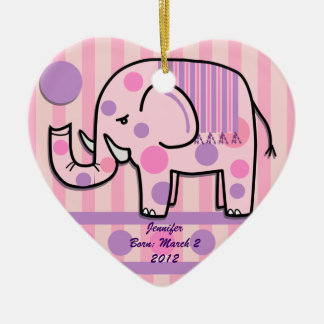 Cute girly Elephant ornament with Name / text