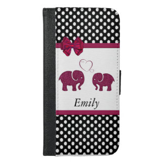 Cute girly elphants in love polka dots monogram iPhone 6/6s plus wallet case