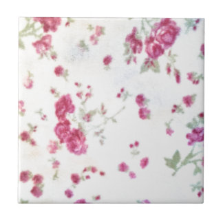 cute girly floral shabby chic white red fuzzy fun ceramic tile
