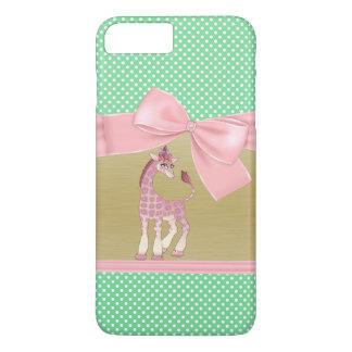 Cute Girly Funny Giraffe On Polka Dots iPhone 8 Plus/7 Plus Case