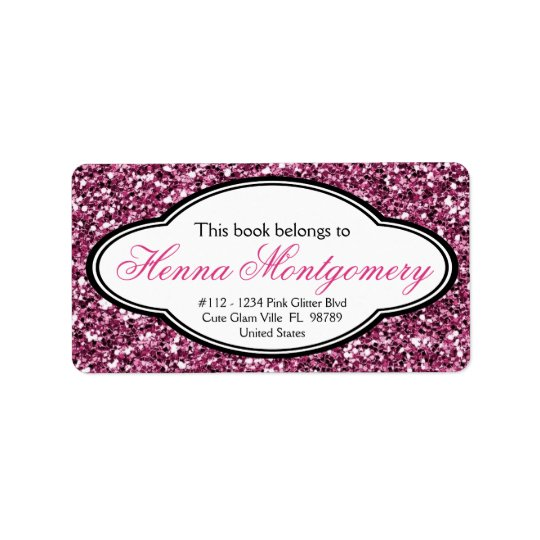 Cute Girly Glitter Look  PINK Bookplate Label