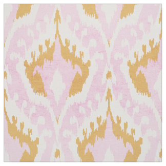 Cute girly gold and pink ikat tribal pattern fabric