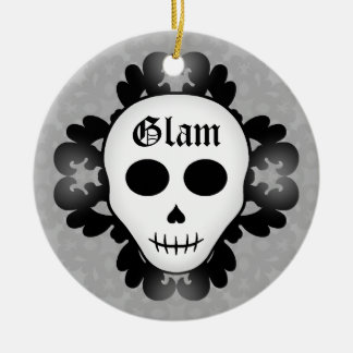Cute girly gothic glam skull Halloween Christmas Ornament