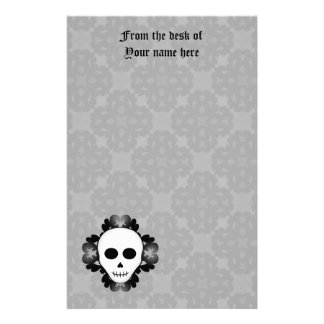 Cute girly gothic glam skull Halloween Stationery Paper