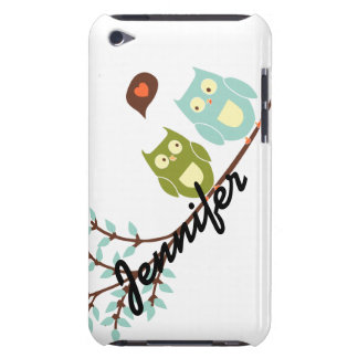 Cute Girly, Green and Blue Owls with Your Name Barely There iPod Cases