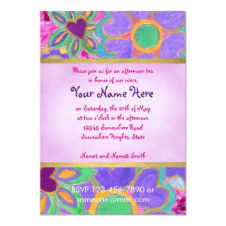 Cute Girly Heart-Shaped Valentine Floral Painting 13 Cm X 18 Cm Invitation Card