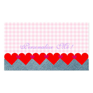 Cute Girly Hearts Modern Monogram Pink Denim Jeans Pack Of Standard Business Cards