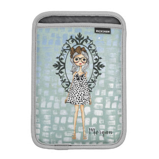Cute Girly Hipster with Glasses iPad Mini Sleeve